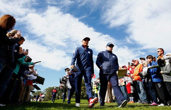 Rickie Fowler Photos Photos - Rickie Fowler of the United States walks between holes during practice prior to the 2016 Ryder Cup at Hazeltine National Golf Club on September 27, 2016 in Chaska, Minnesota. - 2016 Ryder Cup - Previews