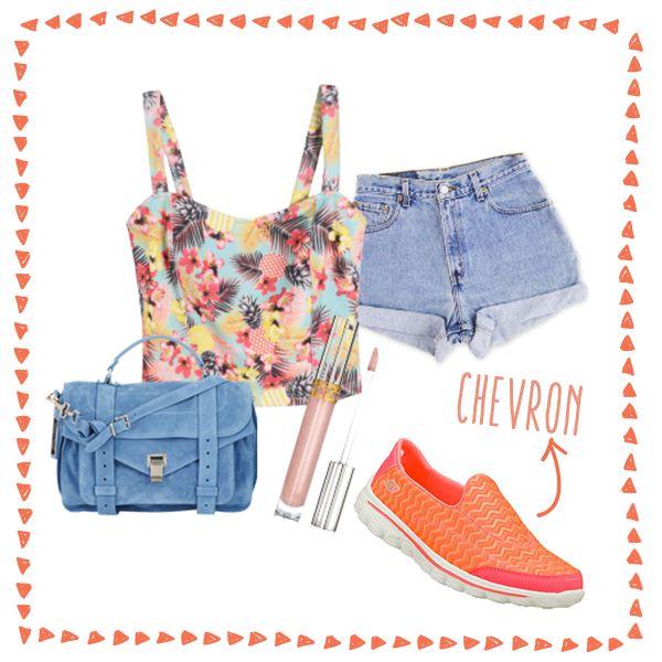"""Combina tu look de verano con tus deportivas favoritas. ¡Lleva tus """"Go walk"""" a todas partes!"""