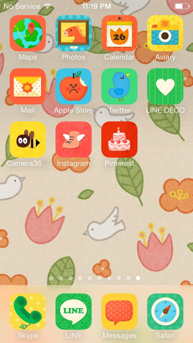 Soft and bright home screen  ★ In this screen ★ Deco Pack:Honey bear+Kids Wallpaper:Meet spring