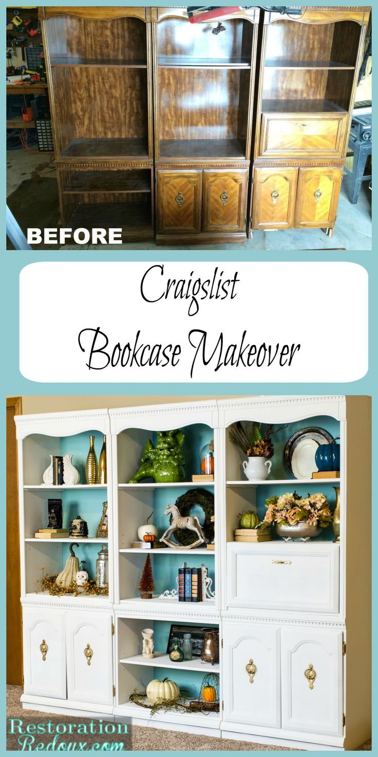 Craigslist Bookcase Makeover by Restoration Redoux