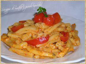 Caserecce alla crema di peperone rosso, capperi e tonno