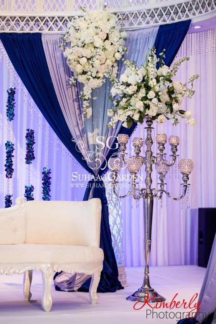 Suhaag Garden, Indian Wedding Decorator, Pakistani Wedding Stage, Crystal Columns, Blue Silver and White, Crystal Globe Candelabras, White Flowers, Dessert Lounge, Valima, Reception Centerpieces