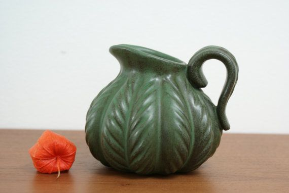 Pitcher vase shaped as a pumpkin from Danish by Danishartpottery
