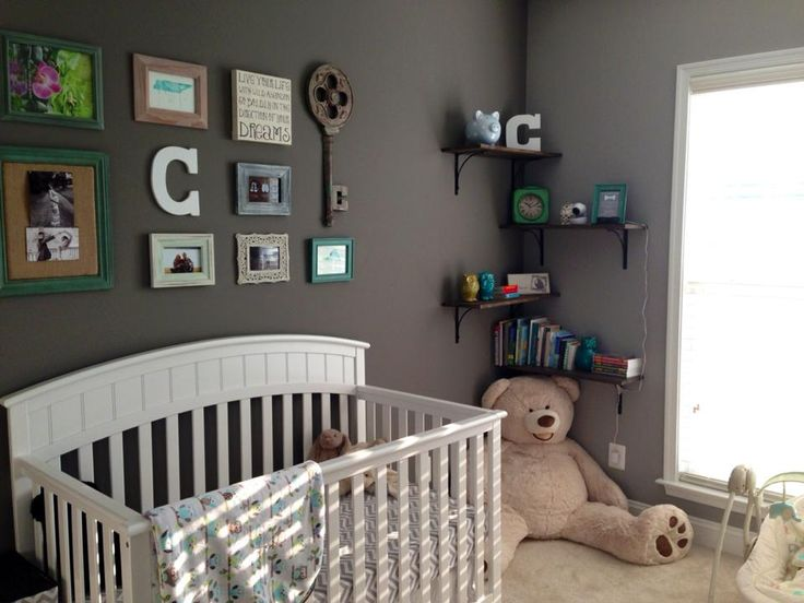 Baby boy nursery with collage wall greynursery leah 39 s for Baby boy mural ideas