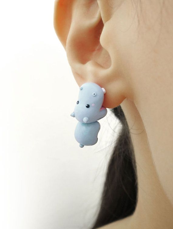 Cute hippo bite earring polymer clay animal by tinyclaymade
