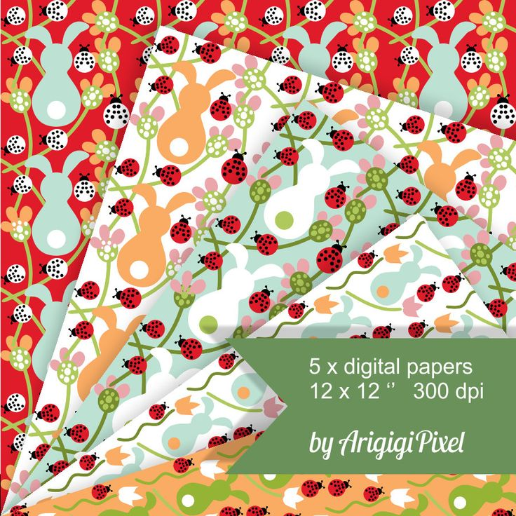 #Spring Digital Background, #bunnies, #flowers, #ladybugs, seamless pattern, collage sheet, digital paper, printable, #scrapbooking, #download http://etsy.me/2F7YIR5 #supplies #red #easter #orange #floral #sheet #collage #birthday #seamlesspattern