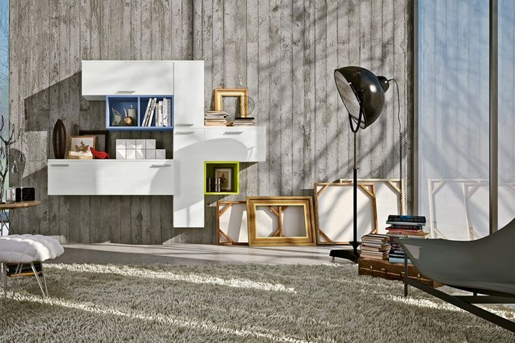 Living Room: Fur Area Rug Feats Beautiful Wall Bookshelves Also Contemporary Floor Lamp Living Room Also Tufted Puff: Light Your Colorful Li...