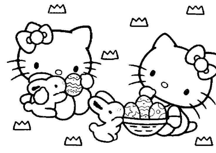 Hello Kitty Easter Colouring Sheet
