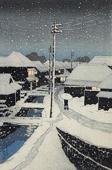 KAWASE Hasui 川瀬 巴水 (1883-1957) - Evening Snow at Terajima Village