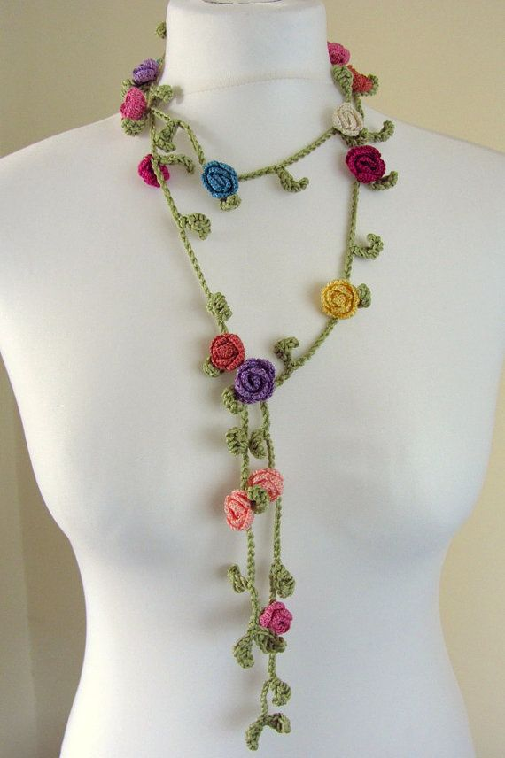 Handmade crochet lariat necklace by ChainAndHook on Etsy, £16.00
