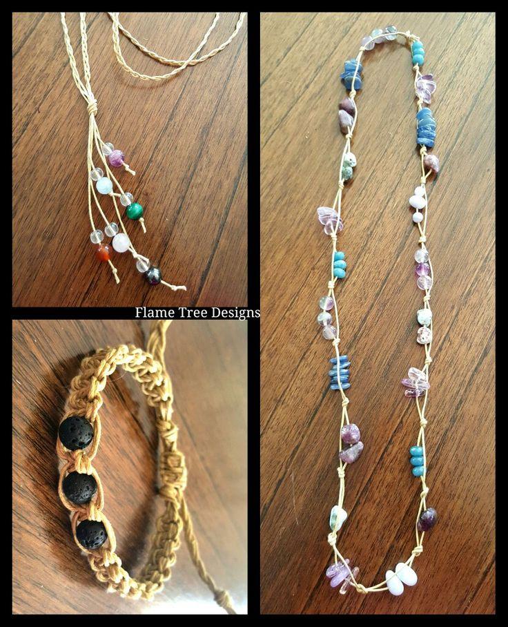 Macrame necklaces go to Facebook.com/flametreedesign