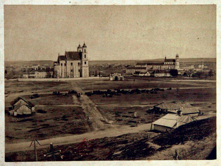 Abdon Korzon, Nowy rynek, kościół św. Jerzego i św. Rafała, Wilno, 1860, fotografia, fot. Trakai Museum of History