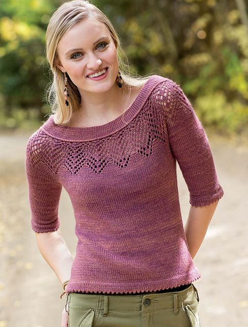 A chevron pattern is isolated from the overall lace stitch featured in this chapter to give new style to a simple yoked pull- over. The soft cowl neckline enhances the patterning and makes an unusual eye-catching statement. The tee is equally beautiful with jeans or office attire. The body is worked from the top down and features waist shaping and picot hem edges.