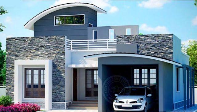 2 Bedroom Budget Kerala Home Elevation Below 1000 Sq Ft 750 Sqft 2 Bedroom Low Cost Kerala Home Des Kerala House Design Simple House Design House Front Design