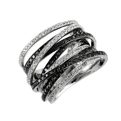 1 3/4 ct Ladies Diamond & Black Diamond Ring in 14k White Gold
