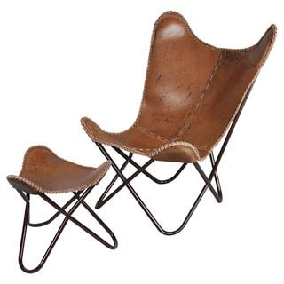 horizon brown leather butterfly chair free shipping today