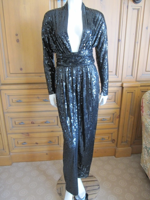 Halston 1970's disco era sexy low cut sequin jumpsuit with belt | eBay