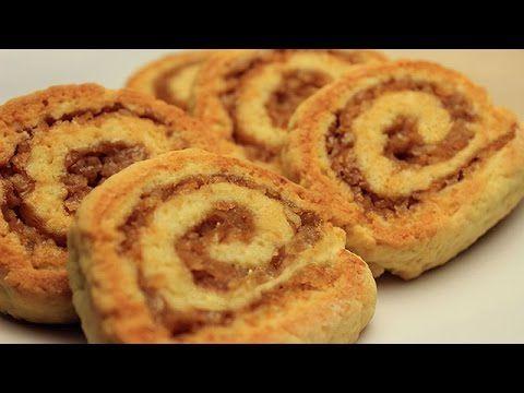 Rulo Elmalı Kurabiye Tarifi - Ağızda Dağılan Tarçınlı Cevizli Kuru Pasta - YouTube