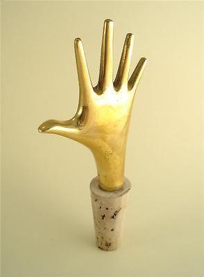 Carl AUBOCK BOTTLE STOPPER HAND Brass Vienna Hagenauer era