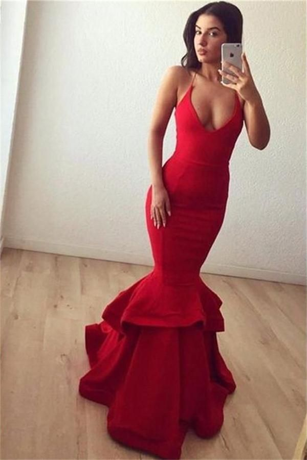 689781c3470be Sexy Red Spaghetti Straps Long Mermaid Beautiful Prom Dresses Party Dresses  Z0556
