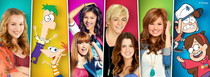 Good Luck  Charlie, Phineas and Ferb, Shake It Up, Austin and Ally, Jessie, Gravity Falls
