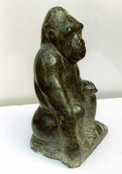 Polyphant stone Primate #sculpture by #sculptor Michael Hipkins titled: 'Silver Backed Gorilla 2' #art