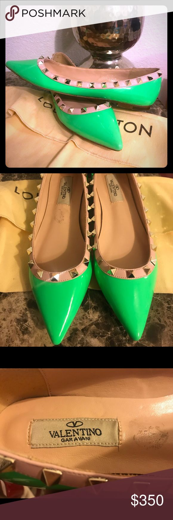 ONE DAY SALE.. Valentino Rock Stud flats 💚 Gorgeous bright green rock stud flats! Selling for $800 @ T.J. MAXX. Some minor scuffs and markings as pictured. Never been worn.. authentic. These are a size 38, and were made in Italy. This is a reposh item because they fit too big 😩 my loss is your gain. Valentino Shoes Flats & Loafers