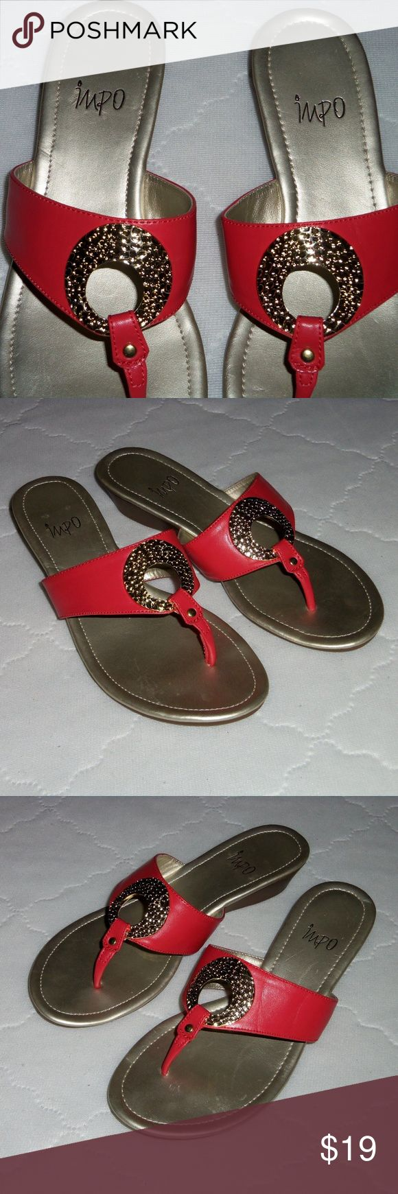 """Impo coral ring dressy flip flops 7.5 Very cute dressy sandals by Impo,  coral color upper with gold metallic ring in center. Show minimal wear overall. Slight heel approx. 1.5"""". See all pictures! Impo Shoes Sandals"""