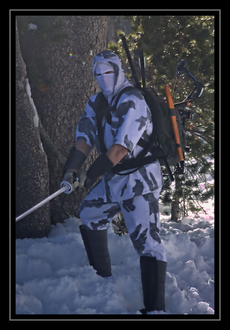 Winter Camouflage Storm Shadow preparing to strike with sword.  Photo By: Jacquelyn Maloy Costume and Editing By: Daren Maloy  Photo Taken at Donner Summit Rest Area 31 Dec 2016