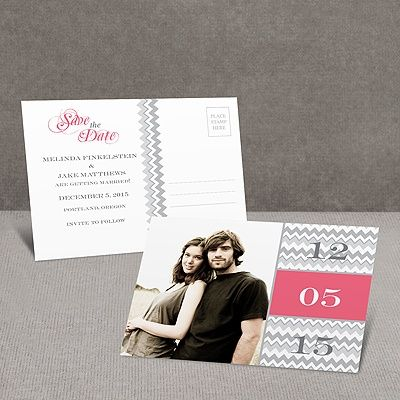 Chic Chevron - Fuchsia - Save the Date Postcard