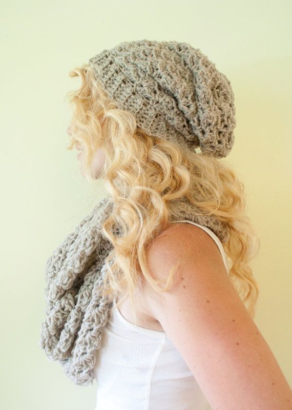 SALE Slouchy hat beanie crocheted  oatmeal  wool by CThandmade, $20.88