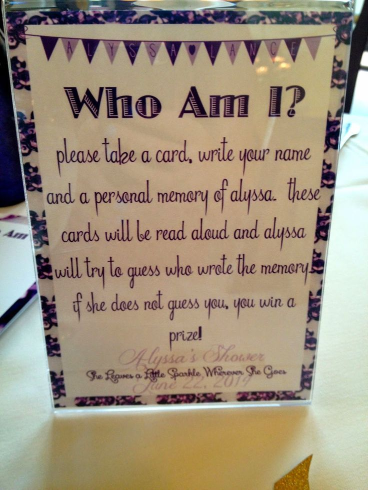 Bridal Shower Game - Who Am I?