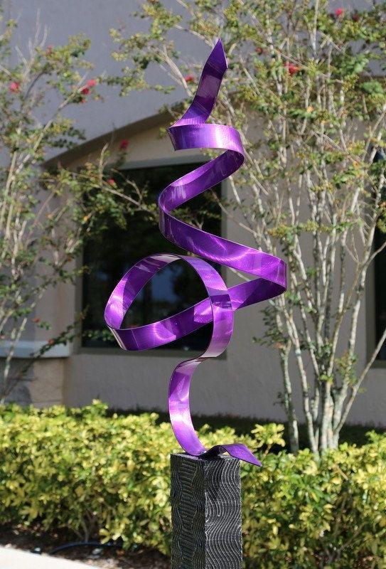 Outdoor Metal Art Modern Designs Purple Perfect Moment Sculpture / By Jon Allen on Etsy, $325.00
