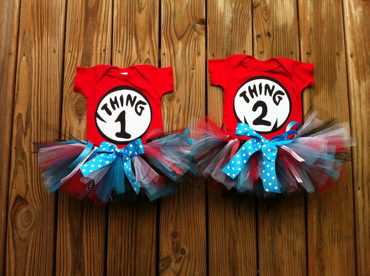 Custom boutique. Set of 2 Dr.Seuss Thing 1 and 2 shirts with scrappy tutus. Twins girls sisters sibling sets. By EverythingSorella. $96.50, via Etsy.