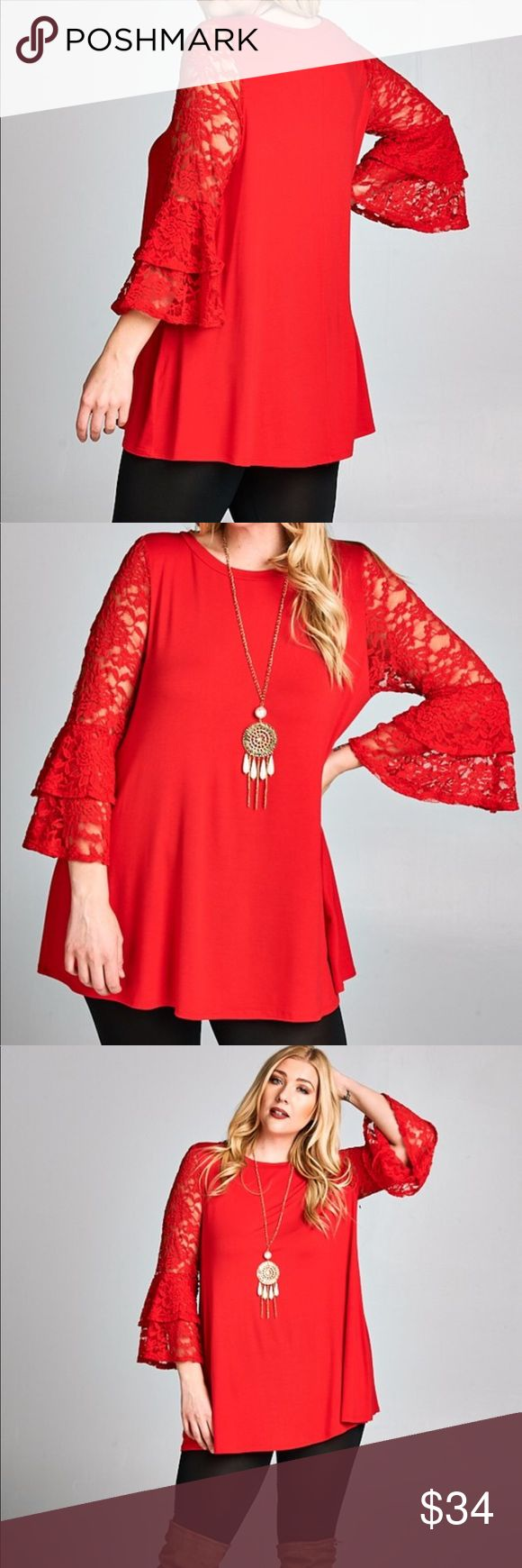 PLUS SIZE Red Two tiered bell lace sleeve tunic. Gorgeous red tunic with lace two tiered bell sleeves.  Body portion is soft material.   Super comfy and flattering. Tops Tunics