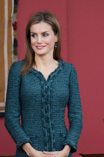 Letizia in teal Felipe Varela for Spanish National Day October 12, 2014