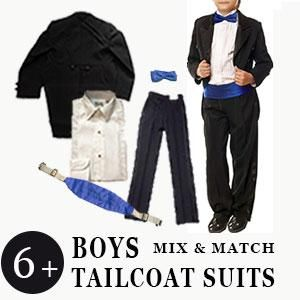 Boys 5 Piece Tailcoat Suits with Accessories https://www.tuxedocloseouts.com  #BulkSuits #Bulk #Tails #Boys #ColorBlue #BoysTuxedos