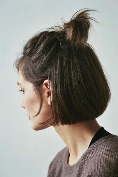 Half-up anything is the definition of effortless glam—simply tie the very top half of your bob into a messy bun and leave a few strands down to fram...