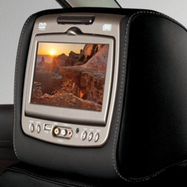 Escalade Dual DVD Headrest System, Jet Black Vinyl with Gray Stitching: Make time fly for your rear-seat passengers with the Rear-Seat Entertainment (RSE) Head Restraint DVD System. Featuring dual DVD LCD monitors mounted to the rear of the front seat head restraints.