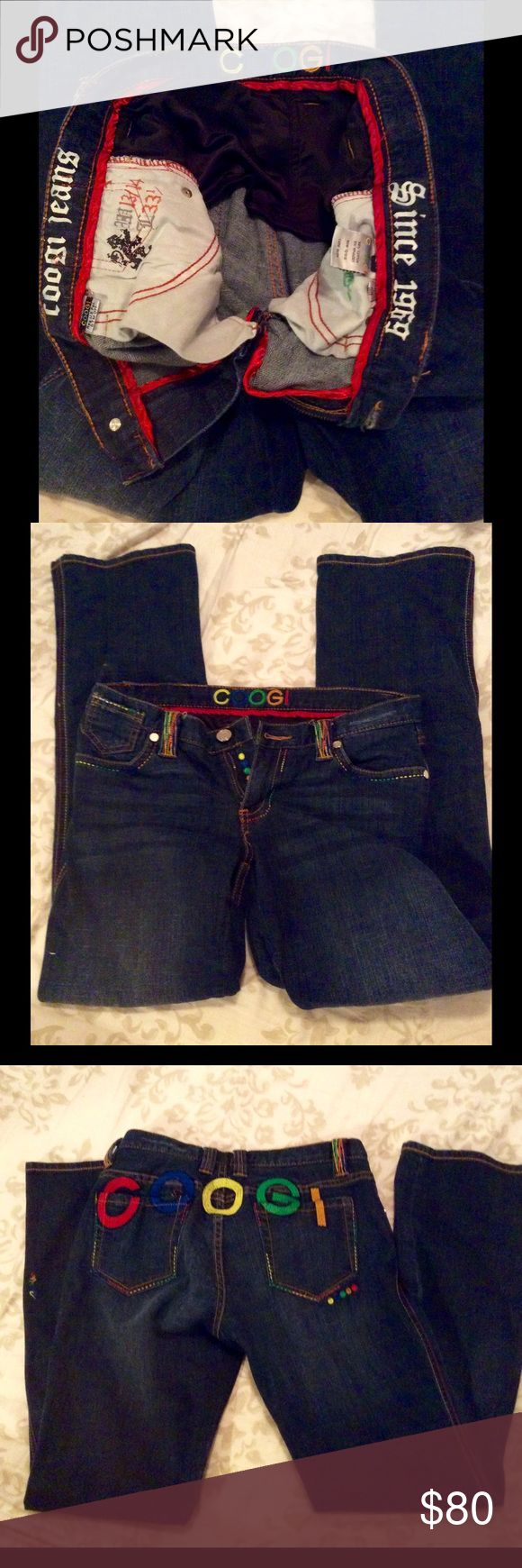 NWOT LIMITED EDITION COOGI RASTA JEANS These are an awesome looking pair of Authentic COOGI JEANS. Beautifully detailed stitching. Never worn. The size says 13/14 W. 33 1/2 L COOGI Jeans Straight Leg