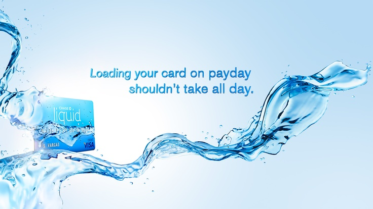 Client: Chase Bank, Agency: McGarry- Bowen. Liquid, blue, water, card, advert, CGI, Post Production