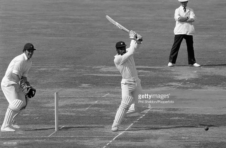 Viv Richards batting for Somerset during the Gillette Cup Final between Northamptonshire and Somerset at Lord's Cricket Ground in London, 8th September 1979. Viv Richards went on to score 117 and Somerset won by 45 runs. The Northamptonshire wicketkeeper is George Sharp and the umpire is David Constant.