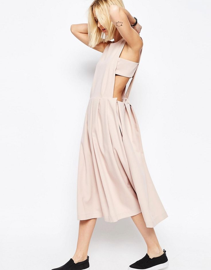 Изображение 1 из Платье-сарафан с плиссированной кромкой ASOS WHITE