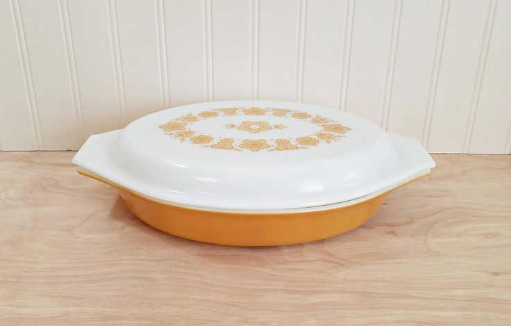 Vintage Pyrex Divided Casserole Dish 063 With Lid Gold Butterfly Casserole Pyrex Casserole Gold Pyrex 1970's Kitchen by HipCatRetroVintage on Etsy