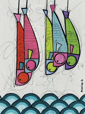 Les sardines suspendues - 60 x 40 cm
