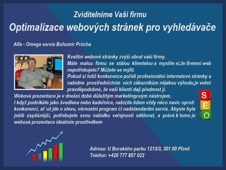 Optimalizace webových stránek.  Optimalizace webových stránek pro vyhledávače. - služby pro Plzeň miniportalsluzby.sweb.cz/informace.html MiniPortál Plzeň: TEL: 777 857 022 Alfa - Omega servis. Bohumír Průcha. Optimalizace webových stránek pro vyhledávače. Copywriting.