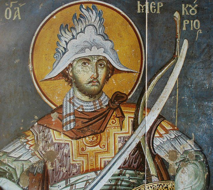 """Saint Merkourios .Of the finest and coarsest military saints, which he drew on the moon Protaton. Originated from Cappadocia and was ranked in the army of MARTIS on Decius (249-251) and Valens (251-259) reaching age 25 in the rank of General, for his feats on the battlefield. was Scythian 'Young handsome, blond by the hamlet, high and distinguished consideration """"(Sophronius Efstratiades).  Manuel Panselinos from the holy church of the protaton Karyes Mt.Athos."""