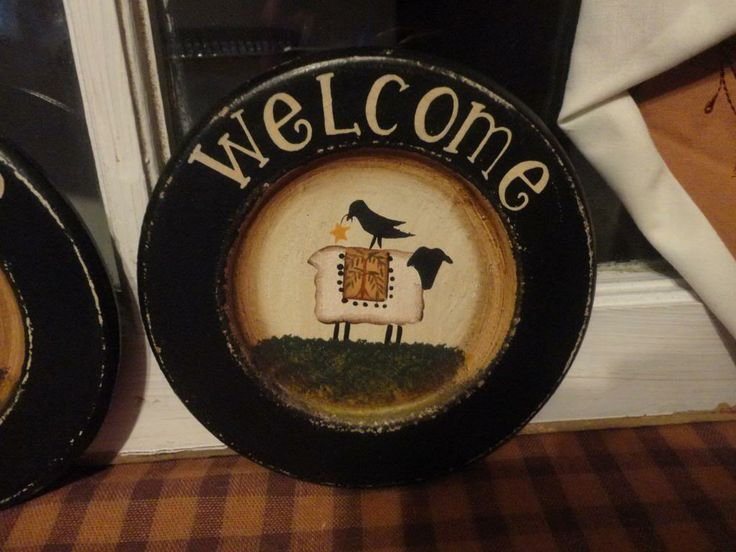 Primitive Home Decor Primitive Country Decor Wooden Plate Set Welcome Sheep Crow Star