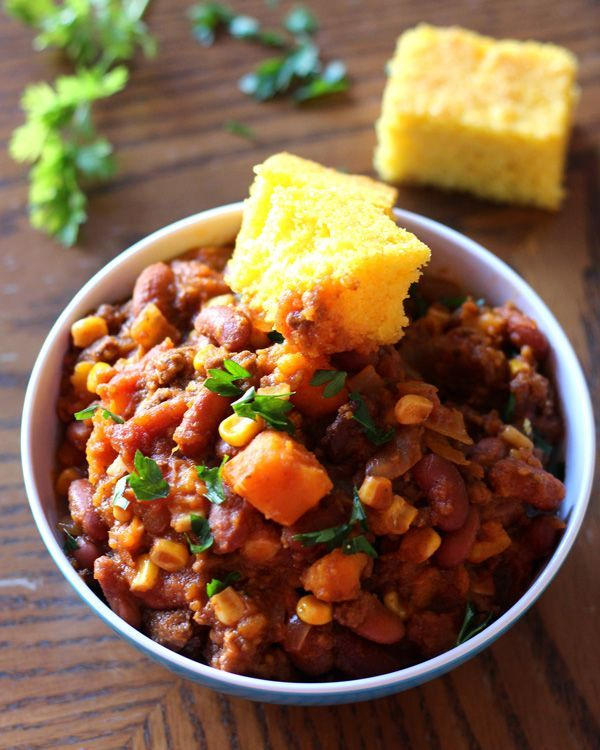 Slow Cooker Sweet Potato Chili *omit optional beef and replace chicken stock with veggie broth*
