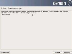22. Configure package manager - Media Change - DVD1